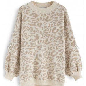 NWT It's the good life leopard oversized sweater